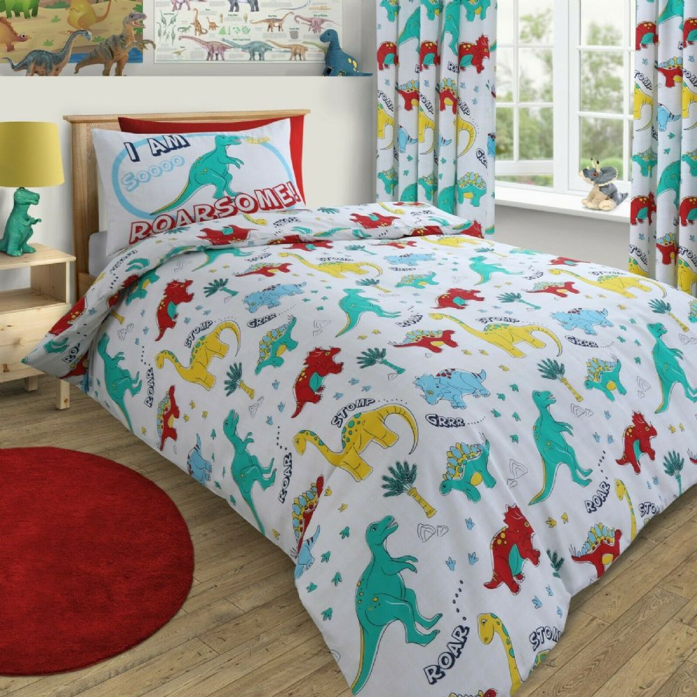 KIDS BOYS CHILDREN'S DINOSAUR BEDDING DUVET QUILT COVER SET OR CURTAINS